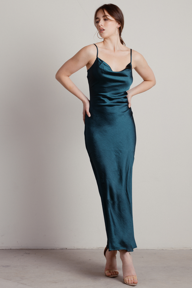 Elegant Gowns for Wedding Guest cowl neck dress