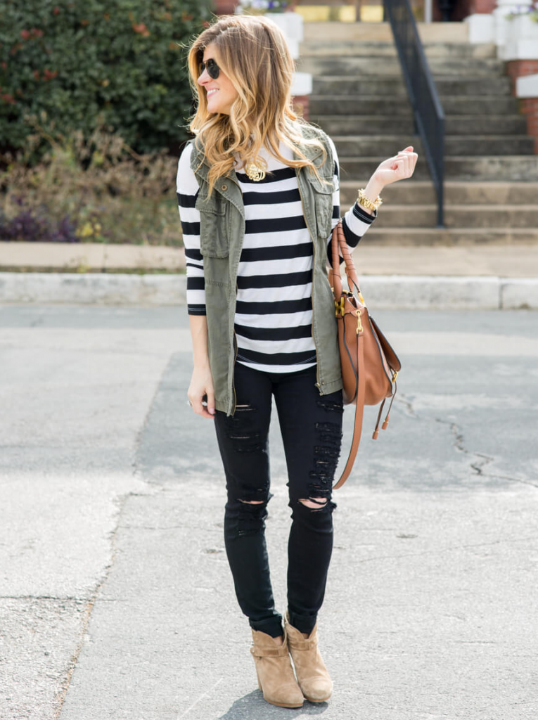cute outfits with black jeans and black white stripes