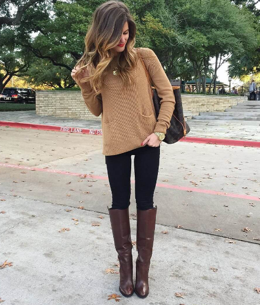 cute outfits with black jeans and brown cardigan