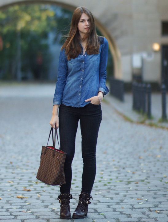 cute outfits with black jeans and denim shirt