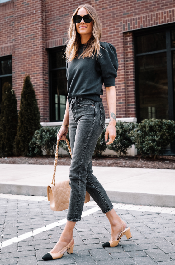 cute outfits with black jeans and puff sleeves