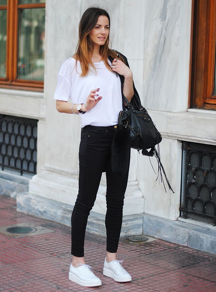 cute outfits with black jeans and white tshirts
