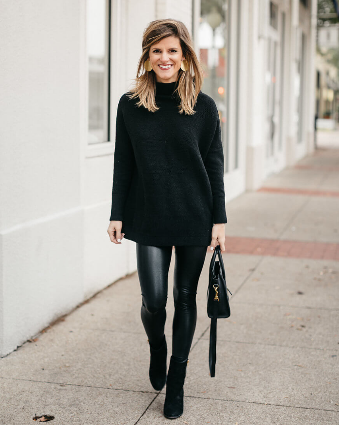 cute outfits with black leggings and sweaters