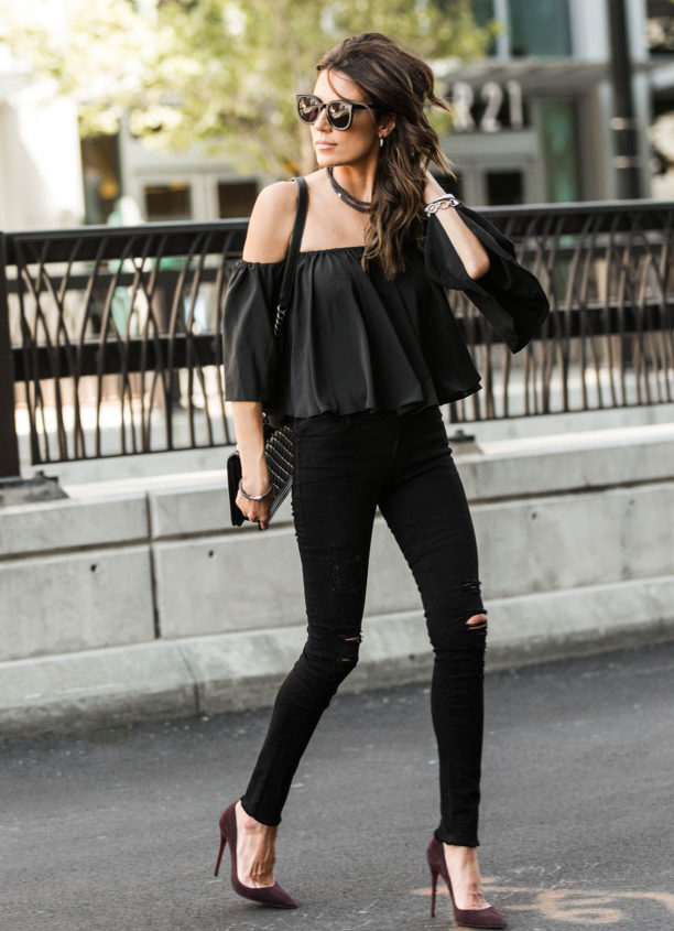 cute tops with black jeans off shoulder crop