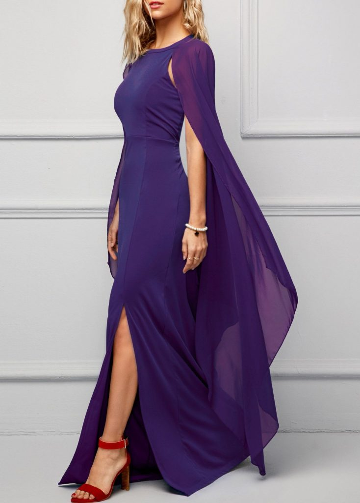 mother of the bride outfits purple slit long dress