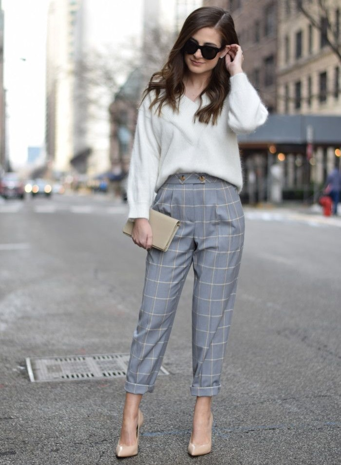 new_fashion_trend_sweaters_and_plaid_pants_outfits_for_autumn