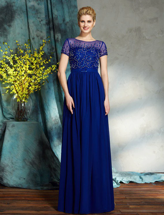 traditional blue mother of bride dress